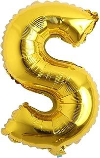 32 inch Letter Balloons Gold Alphabet Number Balloons Foil Mylar Party Wedding Bachelorette Birthday Bridal Shower Graduation Anniversary Celebration Decoration (32 inch S Gold)