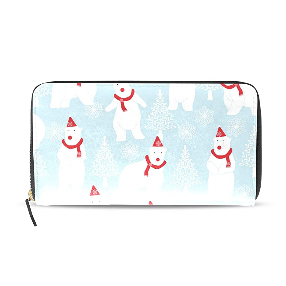 喜劇法律により香ばしい旅立の店 長財布 人気 レディース メンズ 大容量多機能 二つ折り ラウンドファスナー PUレザー 白色 シロクマ柄 クリスマス ウォレット ブラック