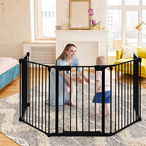 Multigot Folding Pet Gate, Freestanding Barrier with Lockable Door, Safety Gate for Kids and Pets, Multiple Shapes Available (Black, 5-Panel)
