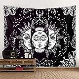 Tapiz de pared con diseño de mandala, diseño psicodélico de sol y luna, color negro y blanco, para colgar en la pared o como tapiz de mandala (sol y luna, 130 cm x 150 cm)