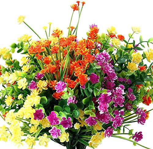 12 Piezas Flores Artificiales 6 Tipos de Plantas de Arbustos Resistentes a Los Rayos UV al Aire Libre para Maceta Colgante Decoración de ventana de Porche de Boda Casa (Amarillo, Naranja, Fucsia)