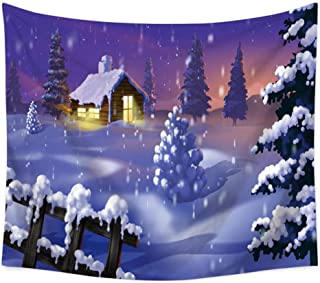 zhj888 Christmas Wall Hanging Tapestry Home Decor Sheets Christmas Summer Beach Covered Swimsuit Blanket Tablecloth Yoga Picnic Mat Christmas Tree Snow Scene Tapestry_230X150Cm