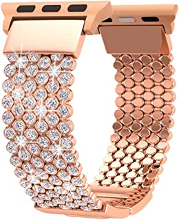 Compatible with Apple Watch Band 44mm 40mm Series 4 5 42mm 38mm Series 3 2 1 Women Girls iWatch Bands, Soaos Crystal Rhinestone Replacement Strap, Mesh Chain Jewelry Wristband (40mm 38mm Rose Gold)