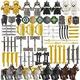 TRCS Juego de 96 cascos de caballero y armas medievales para minifiguras de policía SWAT, compatible con minifigura de Lego.