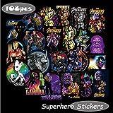 Marvel Avengers Laptop Stickers Decal-108pcs Waterproof Graffiti Stickers Water Bottle Vinyl Sticker Decals for Superheros,MacBook Car Helmet Bike Motorcycle Bumper (Not Random)