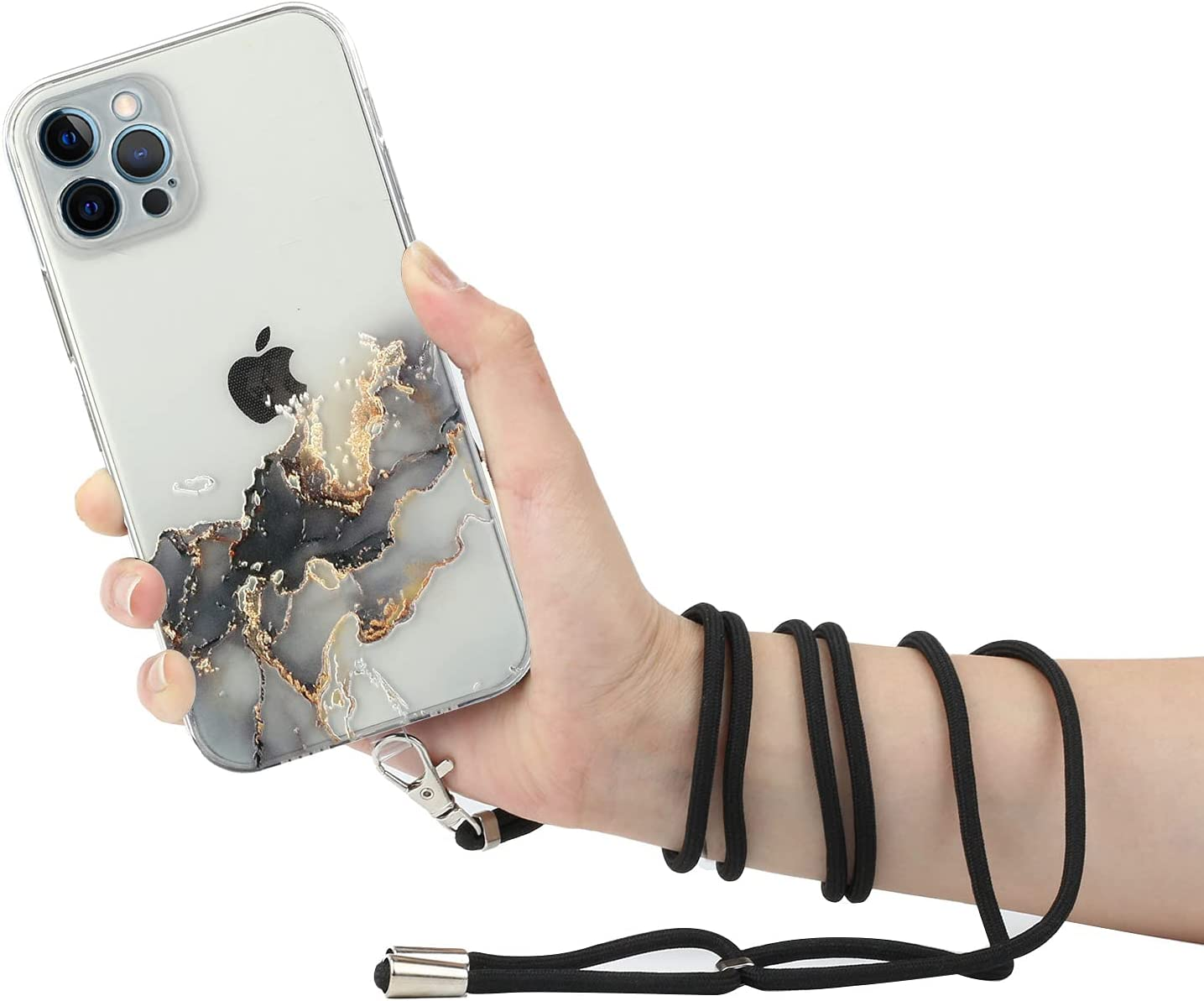 iPhone 12 Lanyard Case Crossbody, KASOS Marble Design Flexible Clear Cover with Neck Cord Strap Transparent Silicone Adjustable Necklace Rope Case (Black)