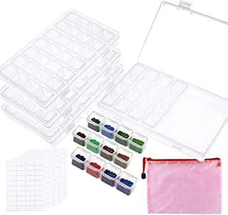 Outuxed 4 Pack 28 Slots Diamond Painting Boxes 5D Diamond Painting Accessories Diamond Embroidery Storage Boxes with Storage Bag and 400 Pieces Craft Label Marker Stickrs