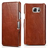 Samsung Galaxy Note 5 Leather Case, Icarercase Genuine Vintage Leather Wallet Case with Card Slot, Side Open in Ultra Slim Style, Flip Folio Cover with Magnetic snap for Samsung Note 5 (Brown)