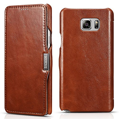icarercase Samsung Galaxy Note 5 Leather Case, Genuine Vintage Leather Wallet Case with Card Slot, Side Open in Ultra Slim Style, Flip Folio Cover with Magnetic snap for Samsung Note 5 (Brown)