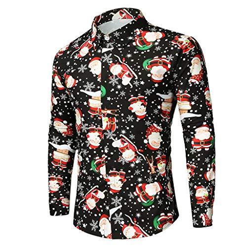 TMOTYE Weihnachten Herren Hemd Feier Basic Regular Fit Shirt Hawaii Hemd Weihnachten Hemd Modern Langarm Businesshemd Männer Atmungsaktiv Stretch Bequem Hemden(Schwarz-D,M)