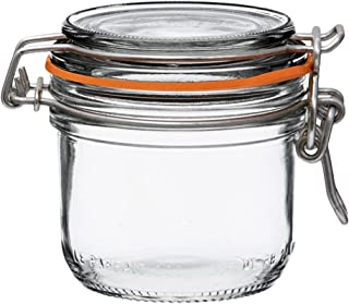 Le Parfait Super Terrine - 200ml French Glass Canning Jar w/Straight Body, Airtight Rubber Seal & Glass Lid, 7oz/Half Pint (Pack of 4) Stainless Wire