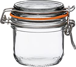 Le Parfait Super Terrines - Wide Mouth French Glass Preserving Jars with Straight Bodies, Glass Lids and Natural Rubber Seals - Canning Jars 200ml - 7oz - SS transparent