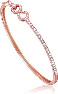 Graduation Gift Interlocking Double Infinity Symbol Oval Shaped Bangle Bracelet with Round Cut Cubic Zirconia Gold Plated Women Jewelry (Rose Gold)