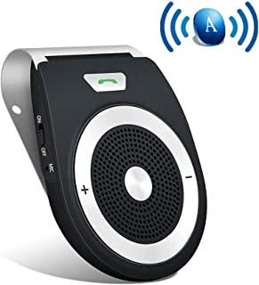 Bluetooth Car Speaker AUTO POWER ON Wireless In Car Speakerphone Handsfree Sun Visor Car Kit Portable Enhance Bass Build in Mic Car Charger for All Smartphone Support GPS ,Music Streaming, Calls