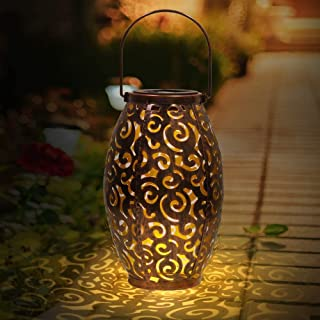 infinitoo Solar Lantern, Outdoor Waterproof Garden LED Solar Light, Hanging Decorative Metal Solar Powered Lantern for Gar...