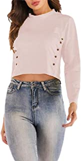 flywinner Women's Solid Button Tee Long Sleeve Top Cropped T-Shirts