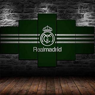 Murosn 5 Piezas Imagen Hogar Oficina Creativo Grande Formato Cuadros En Lienzo Moderno Pintura Decorativa Regalo Real Madrid 100x55cm-Marco