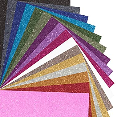 MAREA Premium Glitter Heat Transfer Vinyl (HTV) Sheets - 16 Color Bundle Pack, multi-colors, Vinyl Heat Transfer, HTV Bundle for T-shirts & Iron On, Silhouette Cameo, Heat Press & Cricut Machines