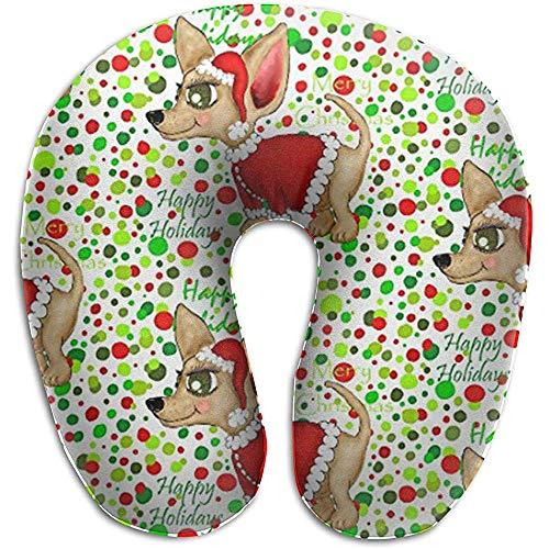 Warm-Breeze Santa Claus Christmas Chihuahua Bequemes U-förmiges Kissen, Reisekissen Memory Foam Neck Support