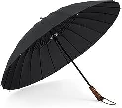 Plemo Windproof Stick Umbrella with 24 Ribs, Ergonomic Wood Handle, Waterproof 210T Fiber, Durable for Optimal, 41 Inch Classic Black