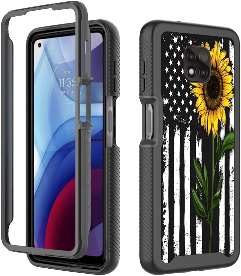 GMJzzx Case for Motorola Moto G Power,Black White American Flag Shockproof Dual Layers Full Body Cover,Soft TPU Bumper PC Armor Protective Cover for Moto G Power 2021(Sunflower Flag)