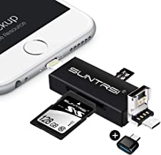 suntrsi TF/SD Card Reader compatible with iPhone/OTG Android/Computer, Micro SD Card Reader compatible with iPhone/iPad Charging,Compatible to SD Card Camera Adapter