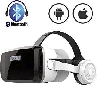 VR Headset with Bluetooth Headphones, Eye Protected HD Virtual Reality Headset,VR Glasses for iPhone and Android Phone Within 4.7-6.2Screen