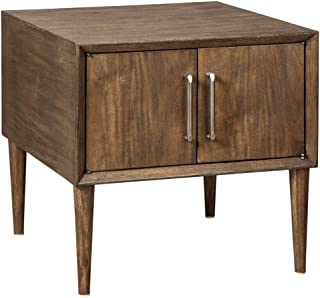 Ashley Kisper Contemporary Brown Square End Table with Cabinet