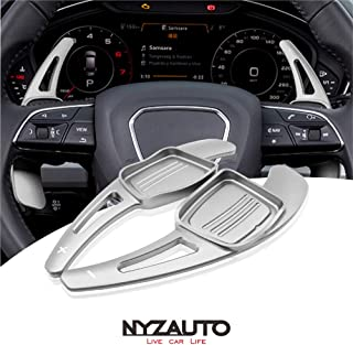 NYZAUTO Aluminum-Alloy Steering Wheel Paddle Shifter Extension For Audi A3 A4 A5 TT TTS S3 S4 S5 SQ5 Q5 Q7 Q8 - Silver