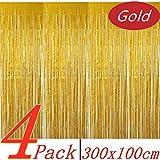 BangShou Metallische Lametta Vorhänge 4 Pack Folie Vorhang Metallic Tinsel Vorhänge mit Größe...