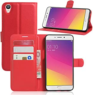 Meijunter Red Wallet Holder Leather Pouch Case Cover For OPPO F1 Plus
