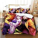 Xungzl Juego de camas de anime de la serie de aventuras bizarra de Jojo, foto de grupo, cama liviana suave en una bolsa, colección de ropa de cama 3D de patrón de impresión a unilmer, portada de 1 pie