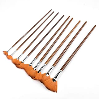 9PCS Drawing Brush,Brown Nylon Hair Aluminium Alloy Tube Fan Shape Drawing Brush Art Painting Tool