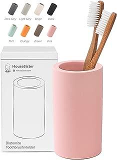 HouseSister Organic Diatomite Toothbrush Toothpaste Makeup Brushes Razors Holder Bathroom Countertop Organizer Stand Cup Organizer (Pink)
