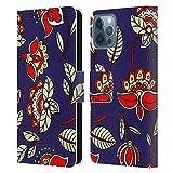 Head Case Designs Licenza Ufficiale Haroulita Blu Rosso Modelli Etnici Cover in Pelle a Portafoglio Compatibile con Apple iPhone 12 / iPhone 12 PRO
