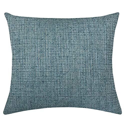 Rodeo Home Chester Two Tone Solid Linen Look Decorative Throw Pillow with 100% Feather Fill Insert for Sofa, Couch, Bed (Denim, 18X20)