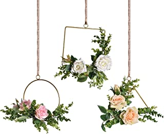 Pauwer Floral Hoop Wreath Set of 3 Artificial Rose Flower and Eucalyptus Vine Wreath for Wedding Backdrop Wall Decor