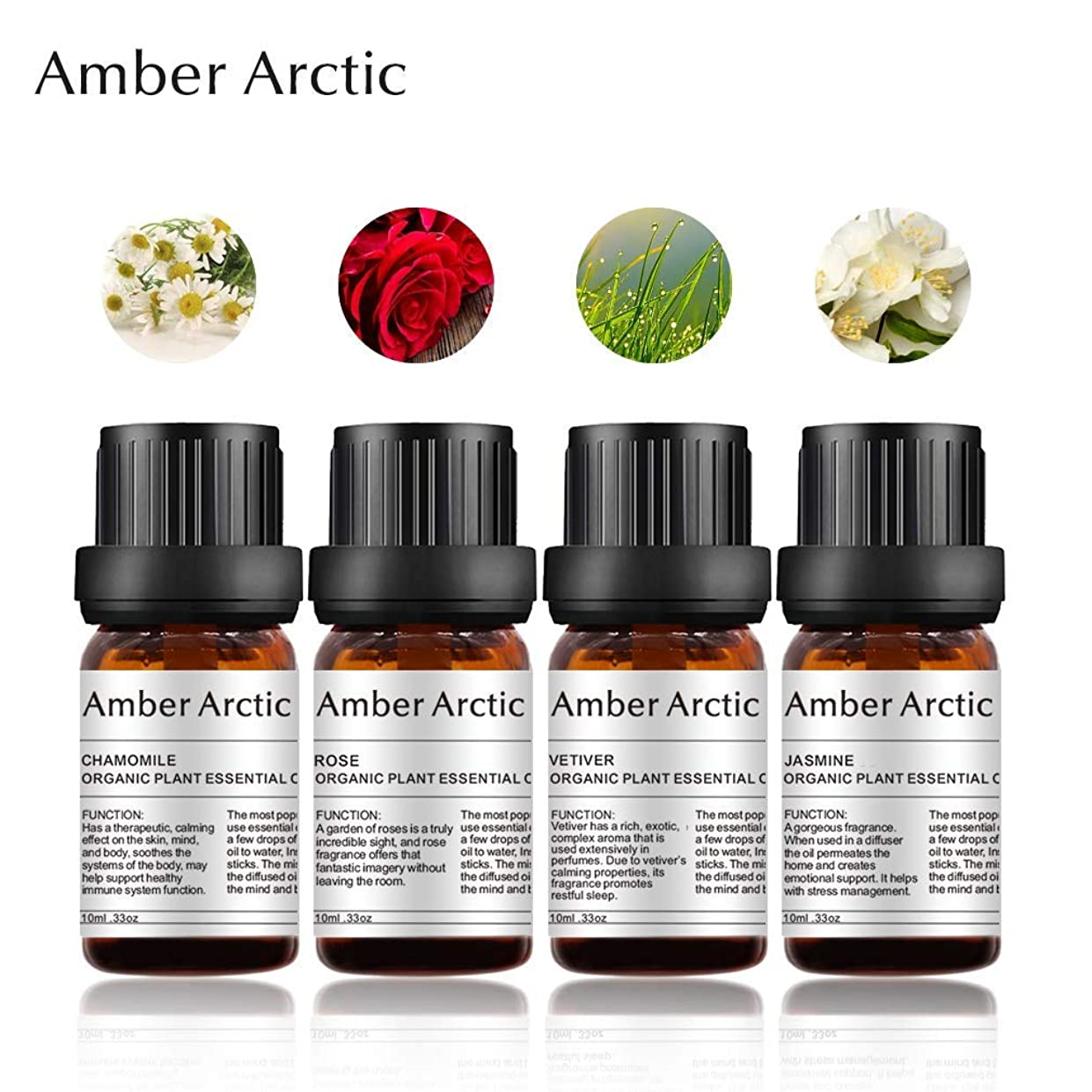 ワーカー優勢発揮するAmber Arctic 4 パック 精油 セット、 100% 純粋 天然 アロマ 最良 治療 グレード エッセンシャル オイル (ジャスミン、 ベチバー、 ローズ、 カモミール)
