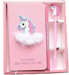Unicorn Notebook, DELFINO Stationery Set with Pen, Stationery Diary Handbook Notebooks Pocket Notepad, for Student Kids Gi...