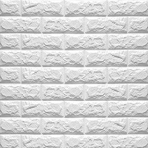Eizur 3D Imitation Brique Stickers Muraux Papier Peint Autocollants étanches Amovible Stéréoscopique Décorations pour TV Fond Chambre Restaurant Taille 70 * 77cm-Blanc