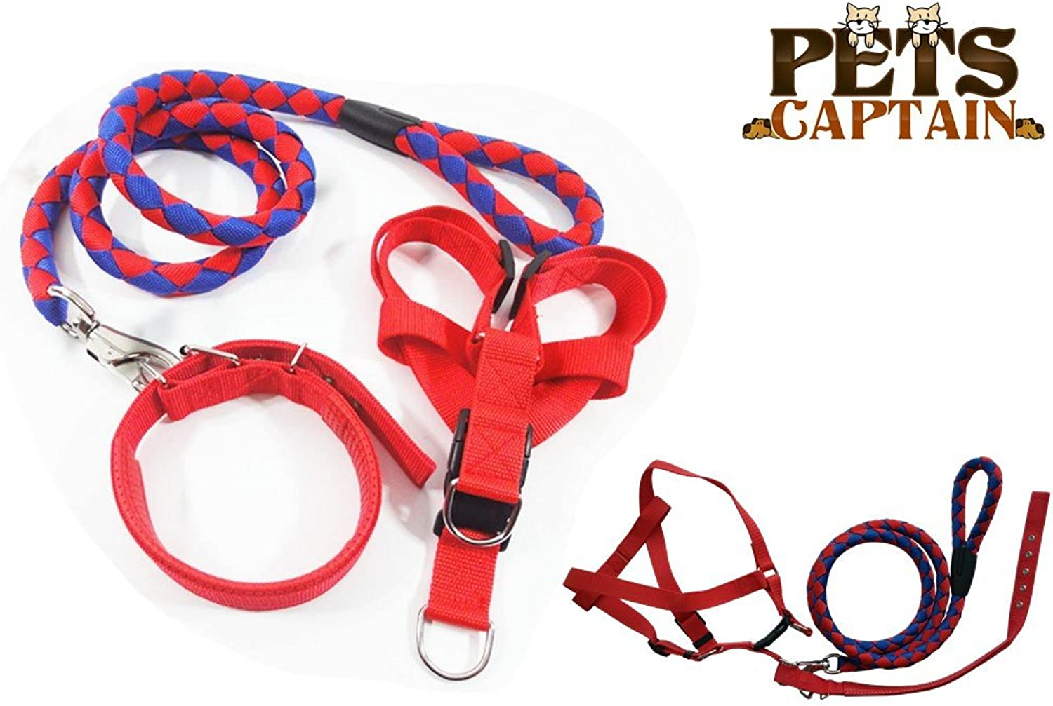 PetsCaptain Pet Leash,Harness,and Collar Bundle Set for Large Dogs and Cats, Red & bluee, Large, OWL3RBUL