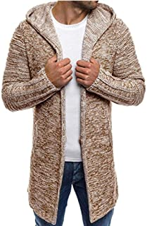 Fashion Sweater Men Casual Cardigan Men Winter Hooded Neck Solid Quality Knitted Brand Male Sweaters Large Size Zzbiao (Color : Khaki, Size : XXL)