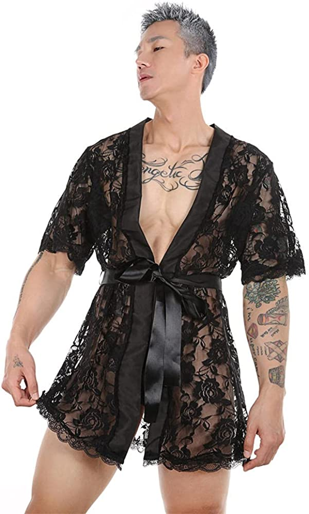 Large-scale sale Men'S Thong Underwear Sexy Lace Tampa Mall Transparent Bathrobe