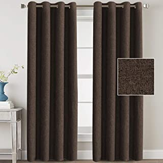 H.VERSAILTEX Linen Blackout Curtains 84 Inches Long Room Darkening Heavy Duty Burlap Efffect Textured Linen Curtains/Draperies/Drapes for Living Room Bedroom - Dark Brown (2 Panels)