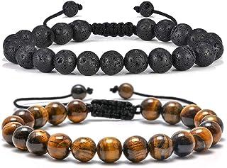 Tiger Eye Mens Bracelet Gifts - 8mm Tiger Eye Lava Rock Stone Mens Anxiety Bracelets, Stress Relief Adjustable Tiger Eye B...
