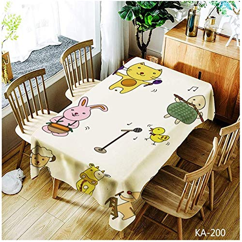 WSJIABIN Polyester Tablecloth Digital Printing Stain-Proof Rectangular Printed National Style Reusable Suitable for Indoor and Outdoor 150 x 260 cm