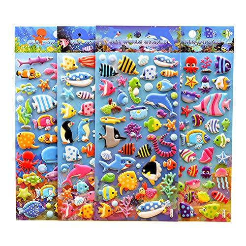TOYANDONA 3D Puffy Stickers Craft Aufkleber für Kinder Kleinkinder Craft Scrapbooking Geschenk Dekoration 4 Blatt