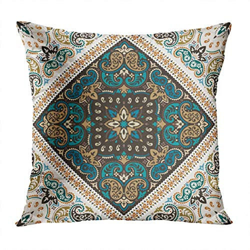Menmek Throw Pillow Cover Print Scarf Based Ornament Paisley Bandana Neck or Kerchief Style Best Motive Papper 16 x 16 Inch Pillow Case Home Car Sofa Office Meeting Room Decor Cushion Pillowcase Gift