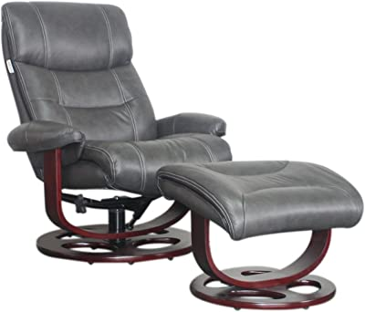 BarcaLounger Dawson 15-8038 Leather Pedestal Recliner Chair and Ottoman - 3609-96 Chelsea Graphite Leather