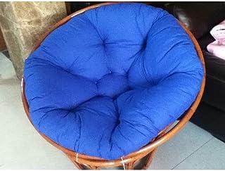 Cojín silla giratoria jardín, Cojín silla Cojín silla interior Papasan para exteriores Espesar Cojín silla columpio redondo Almohadilla para silla mecedora Colgante Hamaca-azul real 110x110x6cm (43x4